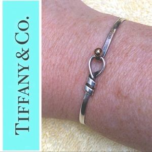 Tiffany & Co. Sterling Silver & 14K Gold Love Knot Hook & Eye Bracelet AUTHENTIC
